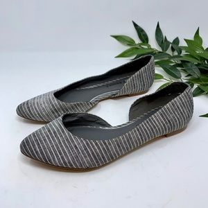 Audrey Brooke D'Orsay Striped Gray White Flats 8.5